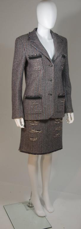 CHANEL Gold Metallic Tweed with Brown and Burgundy Skirt Suit Size 40 4