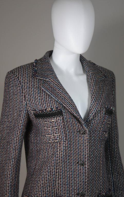 CHANEL Gold Metallic Tweed with Brown and Burgundy Skirt Suit Size 40 5