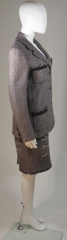CHANEL Gold Metallic Tweed with Brown and Burgundy Skirt Suit Size 40 6