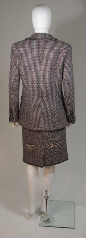 CHANEL Gold Metallic Tweed with Brown and Burgundy Skirt Suit Size 40 7