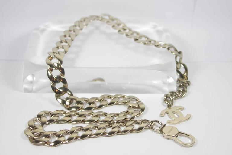 CHANEL Silver Chain Link Belt with Chanel Logo Tassel  2