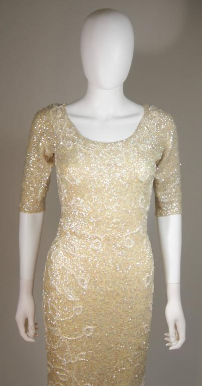 Gene Shelley's Yellow Floral Motif Iridescent Wool Knit Gown Size 6 For Sale 2