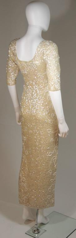 Gene Shelley's Yellow Floral Motif Iridescent Wool Knit Gown Size 6 In Excellent Condition For Sale In Los Angeles, CA