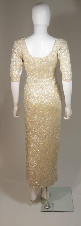 Gene Shelley's Yellow Floral Motif Iridescent Wool Knit Gown Size 6 For Sale 1