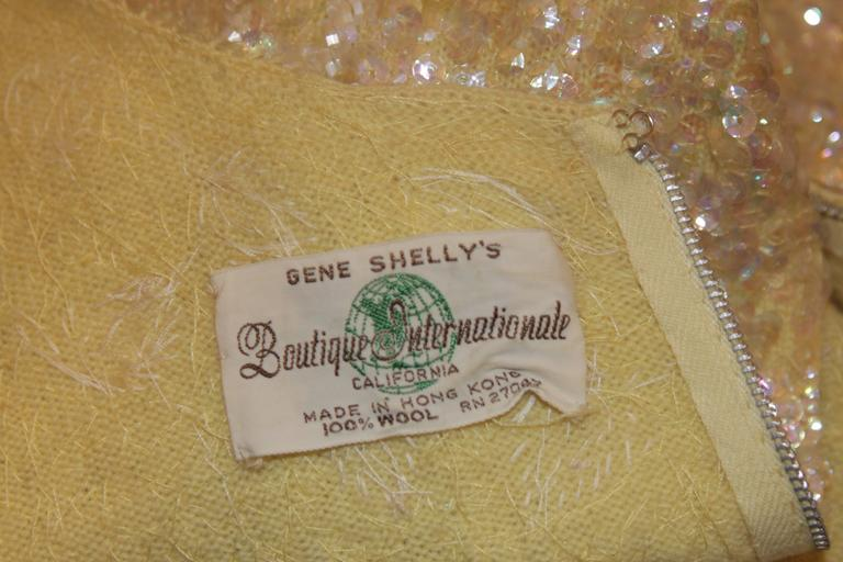 Gene Shelley's Yellow Floral Motif Iridescent Wool Knit Gown Size 6 For Sale 3