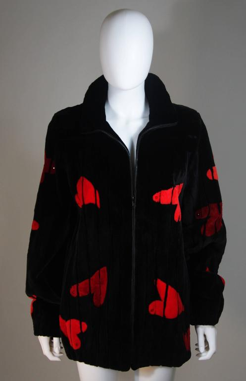 Black ZUKI Onyx Sheared beaver 'HEARTS' Jacket Made to Order For Sale