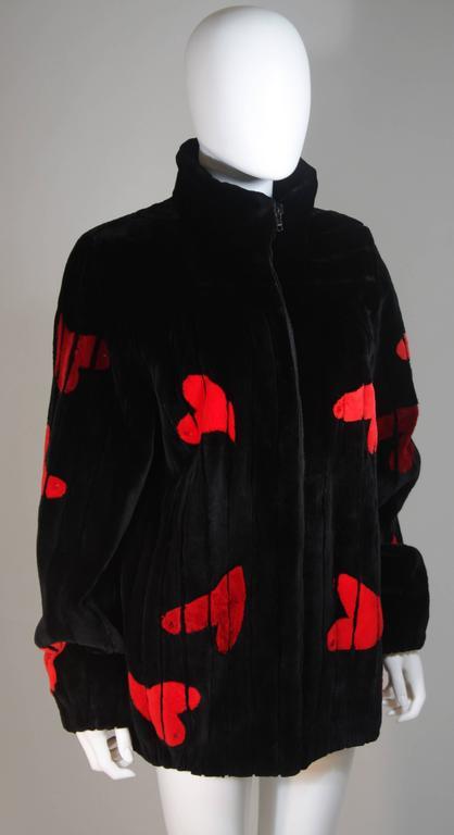 ZUKI Onyx Sheared beaver 'HEARTS' Jacket Made to Order For Sale 1