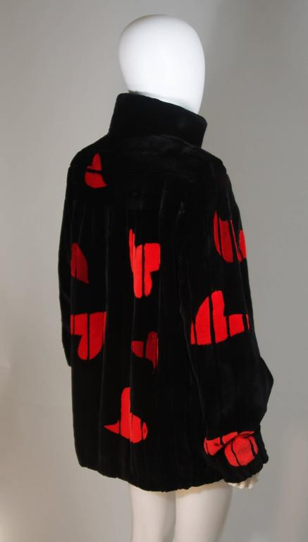 ZUKI Onyx Sheared beaver 'HEARTS' Jacket Made to Order For Sale 3