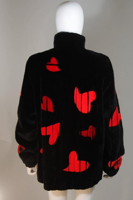 ZUKI Onyx Sheared beaver 'HEARTS' Jacket Made to Order For Sale 4