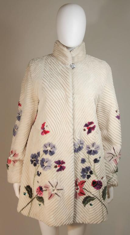 Beige ZUKI 'Lavender Garden' Floral Fawn Sheared Beaver Coat Made to Order For Sale