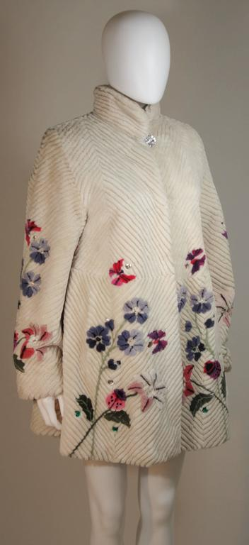 Women's ZUKI 'Lavender Garden' Floral Fawn Sheared Beaver Coat Made to Order For Sale
