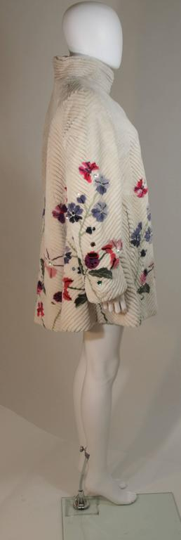 ZUKI 'Lavender Garden' Floral Fawn Sheared Beaver Coat Made to Order For Sale 2
