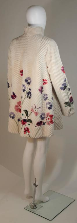 ZUKI 'Lavender Garden' Floral Fawn Sheared Beaver Coat Made to Order For Sale 3