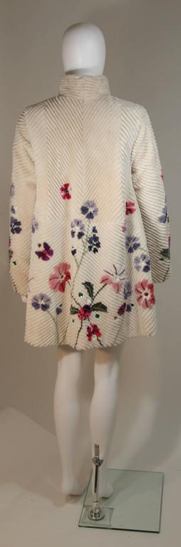 ZUKI 'Lavender Garden' Floral Fawn Sheared Beaver Coat Made to Order For Sale 4