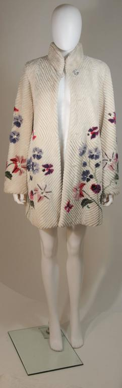 ZUKI 'Lavender Garden' Floral Fawn Sheared Beaver Coat Made to Order In New Condition For Sale In Los Angeles, CA