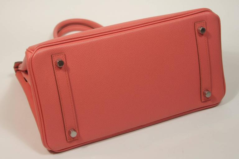 HERMES Birkin 30 Bag Rose Jaipur Pink Clemence Palladium Hardware For Sale 3