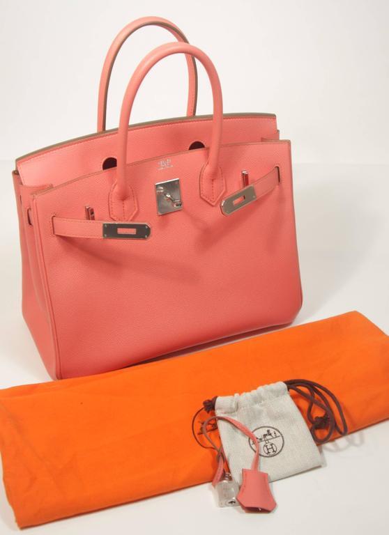 HERMES Birkin 30 Bag Rose Jaipur Pink Clemence Palladium Hardware For Sale 4