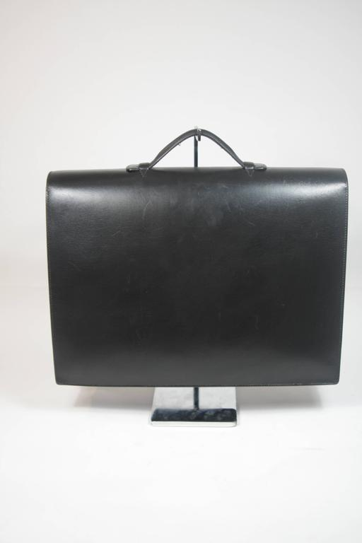 HERMES 'Sac A Depeche' Black Box Leather Briefcase 'A0U' 1997 Large  For Sale 3