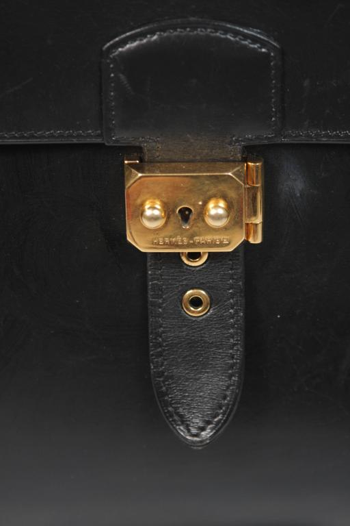 HERMES 'Sac A Depeche' Black Box Leather Briefcase 'A0U' 1997 Large  For Sale 5