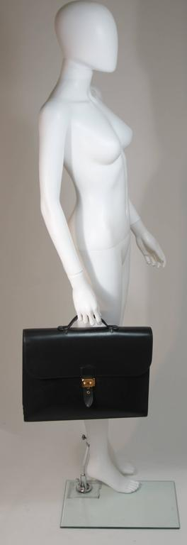 HERMES 'Sac A Depeche' Black Box Leather Briefcase 'A0U' 1997 Large  In Excellent Condition For Sale In Los Angeles, CA