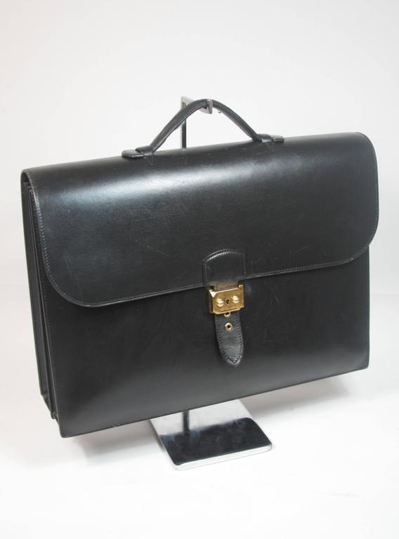 Women's HERMES 'Sac A Depeche' Black Box Leather Briefcase 'A0U' 1997 Large  For Sale