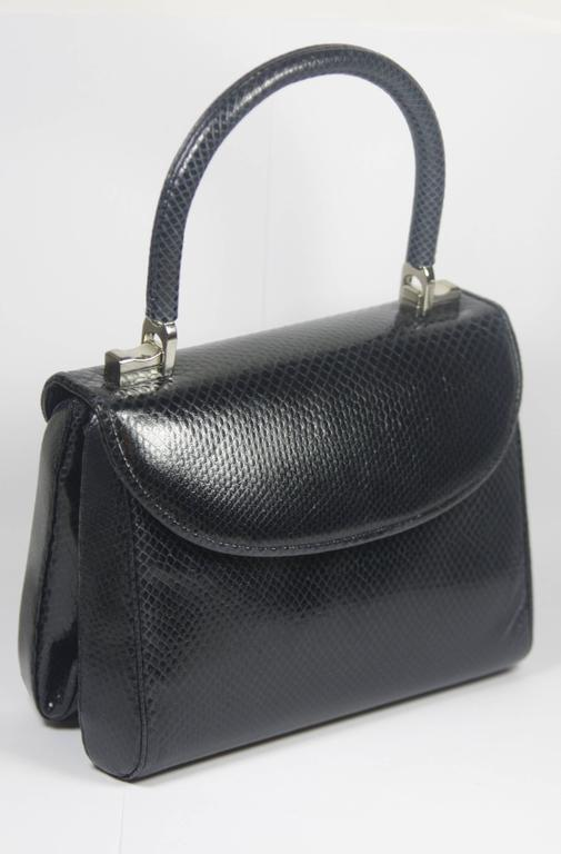 Black JUDITH LEIBER Navy Lizard Skin Purse with Top Handle & Silver Hardware For Sale