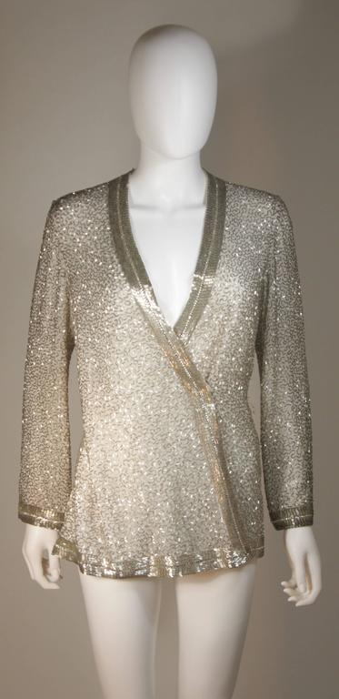 Silver And White Silk Beaded Pant Suit With Palazzo Pants