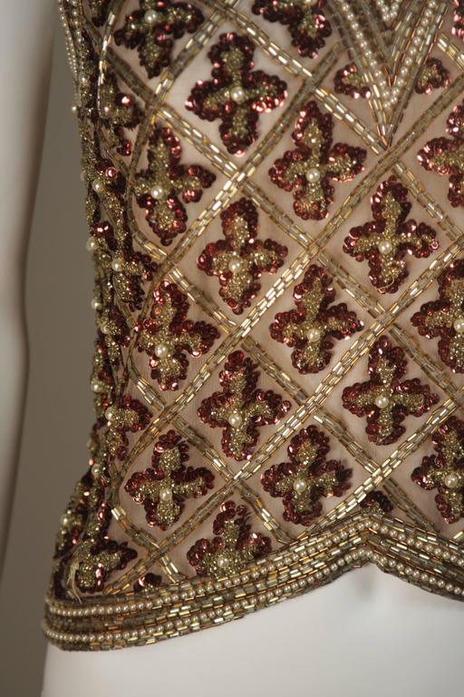 Attributed to GALANOS Gold and Burgundy Relief Beaded Blouse Size Small Medium 5