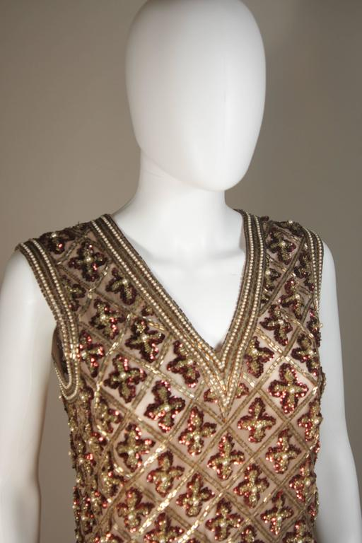 Attributed to GALANOS Gold and Burgundy Relief Beaded Blouse Size Small Medium 4