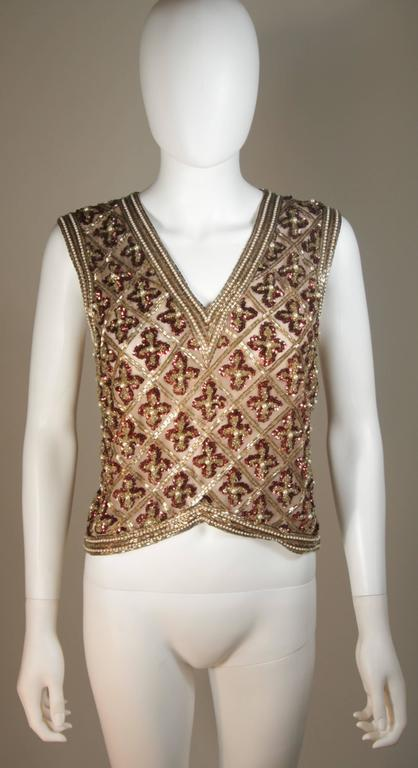 Attributed to GALANOS Gold and Burgundy Relief Beaded Blouse Size Small Medium 2
