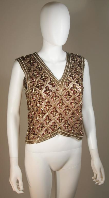 Attributed to GALANOS Gold and Burgundy Relief Beaded Blouse Size Small Medium 3