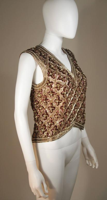 Attributed to GALANOS Gold and Burgundy Relief Beaded Blouse Size Small Medium 6