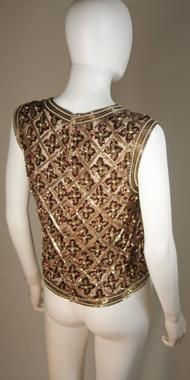 Attributed to GALANOS Gold and Burgundy Relief Beaded Blouse Size Small Medium 8