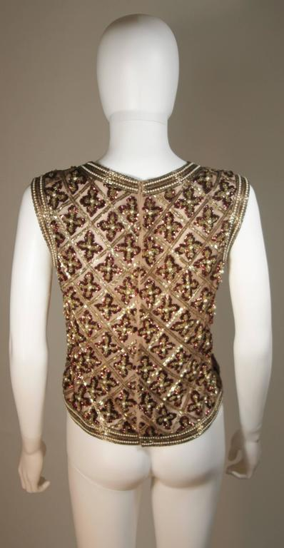 Attributed to GALANOS Gold and Burgundy Relief Beaded Blouse Size Small Medium 9