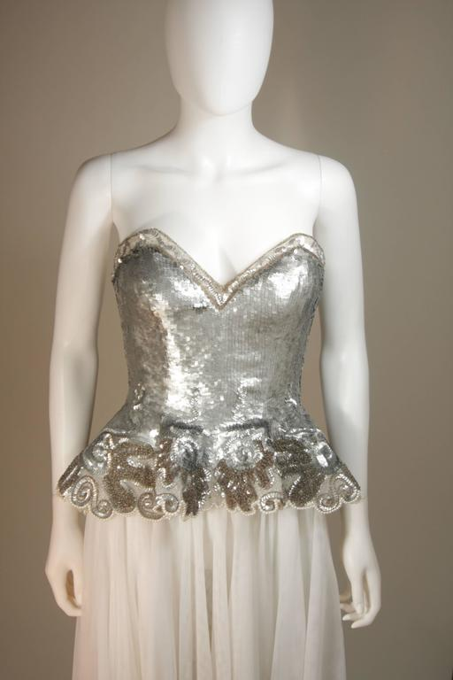 Brown FABRICE NEW YORK COUTURE Silver Sequin Bustier Gown with Mesh Skirt Size Small For Sale