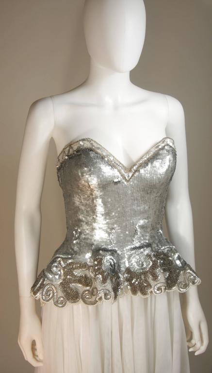 Women's FABRICE NEW YORK COUTURE Silver Sequin Bustier Gown with Mesh Skirt Size Small For Sale