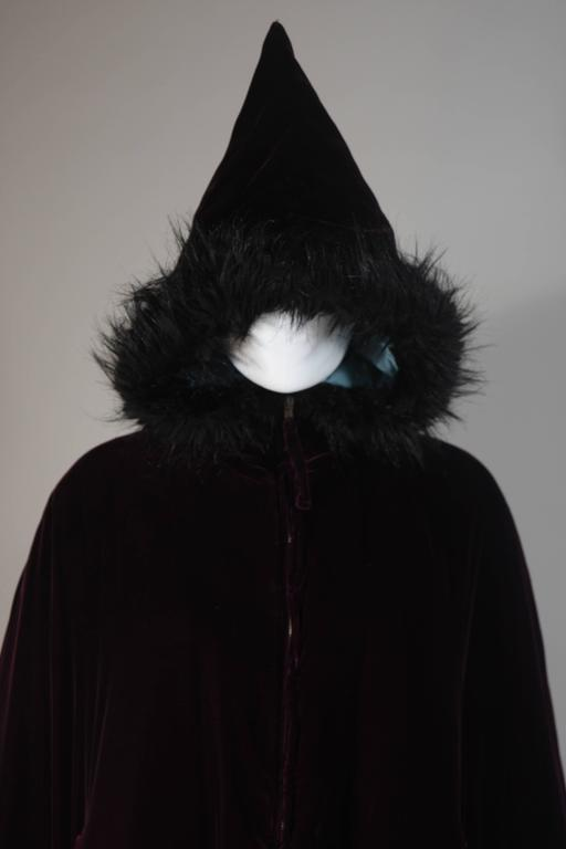 Black JEAN PAUL GAULTIER Purple Velvet Puff Cloak with Pointed Hood Size 42 For Sale