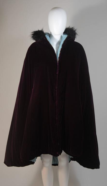 JEAN PAUL GAULTIER Purple Velvet Puff Cloak with Pointed Hood Size 42 In Excellent Condition For Sale In Los Angeles, CA