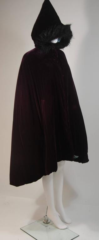 Women's JEAN PAUL GAULTIER Purple Velvet Puff Cloak with Pointed Hood Size 42 For Sale