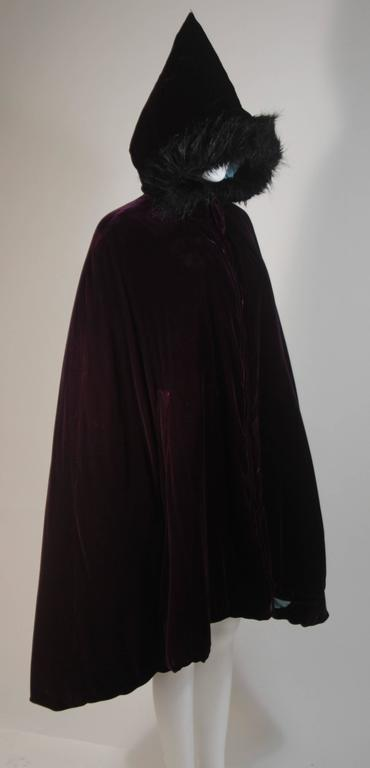 JEAN PAUL GAULTIER Purple Velvet Puff Cloak with Pointed Hood Size 42 For Sale 1