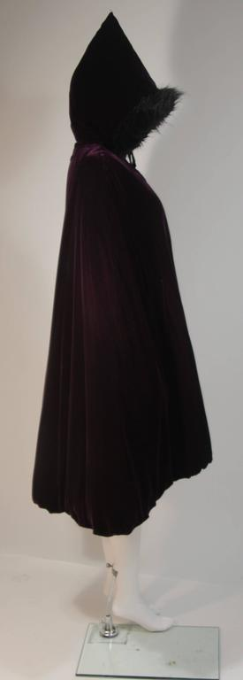 JEAN PAUL GAULTIER Purple Velvet Puff Cloak with Pointed Hood Size 42 For Sale 2