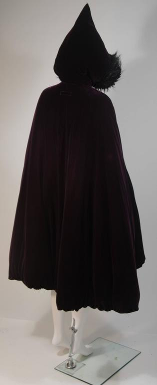 JEAN PAUL GAULTIER Purple Velvet Puff Cloak with Pointed Hood Size 42 For Sale 3