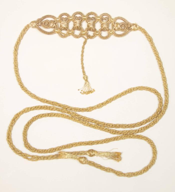 OSCAR DE LA RENTA Gold Metallic Braided Belt  4