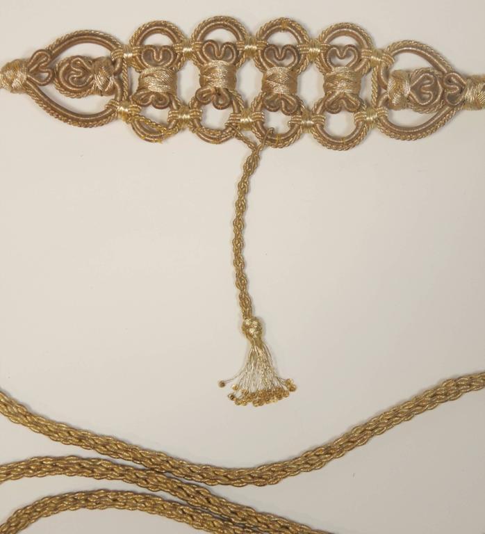 OSCAR DE LA RENTA Gold Metallic Braided Belt  5