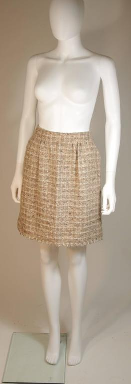 CHANEL Nude Tweed Knee Length Skirt with Brown Metallic Detail Size 6-8 3
