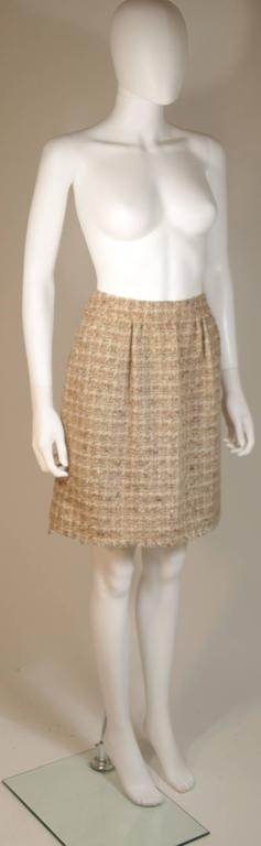 CHANEL Nude Tweed Knee Length Skirt with Brown Metallic Detail Size 6-8 2