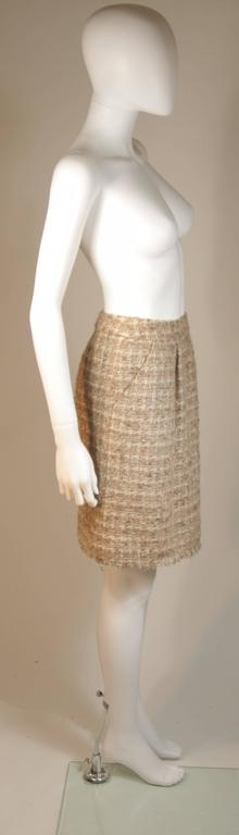 CHANEL Nude Tweed Knee Length Skirt with Brown Metallic Detail Size 6-8 6