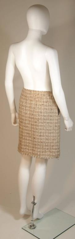CHANEL Nude Tweed Knee Length Skirt with Brown Metallic Detail Size 6-8 8