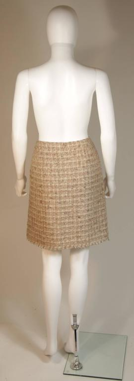 CHANEL Nude Tweed Knee Length Skirt with Brown Metallic Detail Size 6-8 9