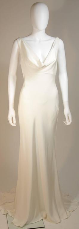 MONIQUE IHUILLIER BLISS Ivory Silk Empire Style Bias Cut Gown Size 4 2
